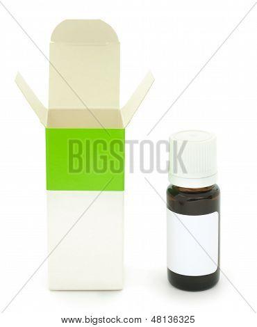 Opened Unbranded Drug Box And Bottle.