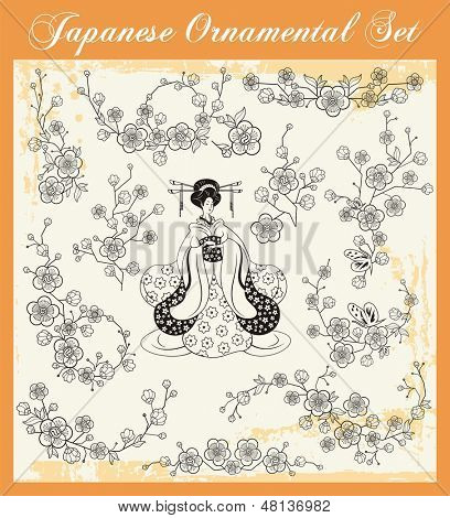 Vector set of floral ornaments and a Japanese girl in kimono.