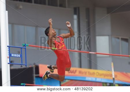 DONETSK, UKRAINE - JULY 12: Jose Rodolfo Pacho of Ecuador competes in Pole Vault during 8th IAAF World Youth Championships in Donetsk, Ukraine on July 12, 2013