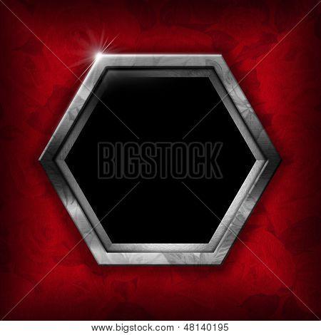 Hexagonal metal frame on red velvet background with roses flowers poster