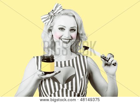 Woman Serving Retro Product. Vintage Advertisement