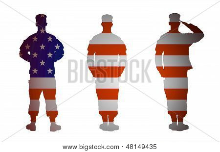 Us Army Soldier In Three Positions Isolated On White Background