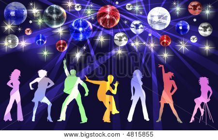 Disco Background  With Dancing People