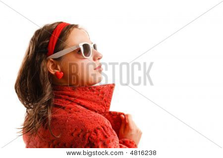 Beautiful Young Woman Wearing Red Jacket And Sunglasses