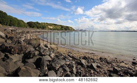 Städtische Ansicht von Mission Bay an einem späten Winter-Nachmittag