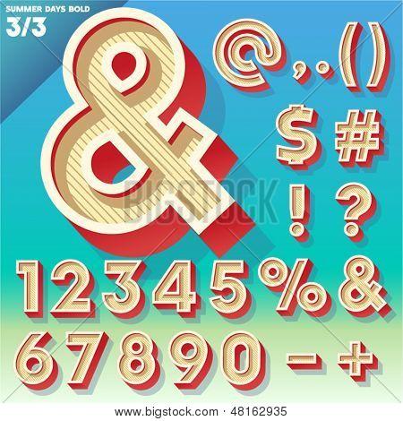 Vector retro alphabet for Summer typography design. Simple Bold Style. Symbols