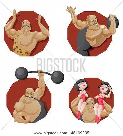 Set Of Torso Circus Smiling Strong Man