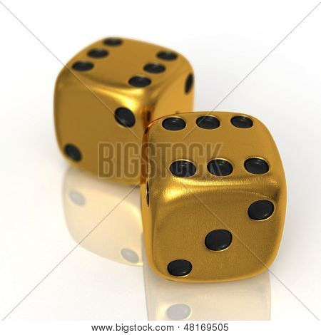 Golden Dices On White
