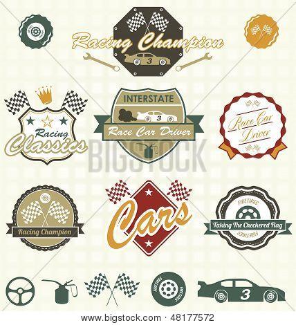 Vector Set: Retro Car Racing etiquetas e iconos