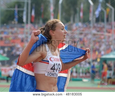 DONETSK, UKRAINE - JULY 14: Anita Hinriksdottir of Iceland win gold medal in the final on 800 meters during 8th IAAF World Youth Championships in Donetsk, Ukraine on July 14, 2013