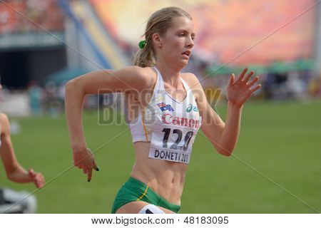 DONETSK, UKRAINE - JULY 14: Georgia Wassall of Australia competes in the final on 800 meters during 8th IAAF World Youth Championships in Donetsk, Ukraine on July 14, 2013