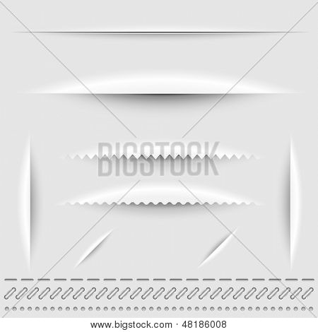 Paper cut, stitch and perforation dividers vector template.