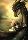 A shabby girl is hugging her dragon with happiness. This is a fantasy drawing poster