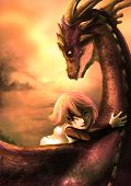 A shabby girl is hugging her dragon with happiness in the dramatic sunset scene. This is a fantasy drawing poster