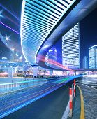 Megacity Highway at rainbow night with light trails in shanghai China poster