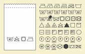 Textile label template and washing symbols (laundry icons) poster