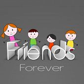 Happy Friendship Day background with cute little boys and girls illustration and text Friends forever.  poster