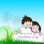 Happy Friendship Day background with cute little boy and girl on abstract nature background. poster