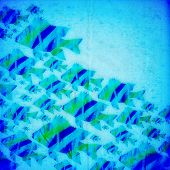 Blue and green seamless background with stylized fishes poster
