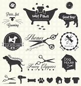 Collection of pet grooming shop labels and icons for dogs and cats poster