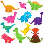 Vector Collection of Cute Cartoon Dinosaurs and a Volcano poster