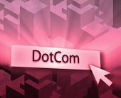 Dotcom button illustration clicking on web technology poster
