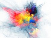 Abstract design made of bursting strands of fractal smoke and paint on the subject of design science technology and creativity poster