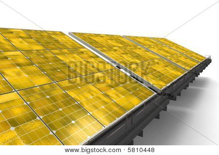 Detail Of A Line Of Yellow Solar Panels