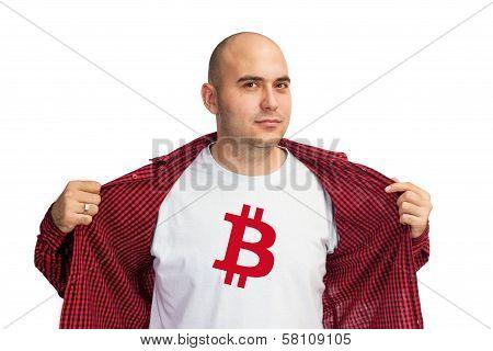 Bitcoin Symbol On Shirt