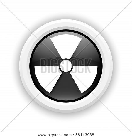 Round plastic icon with white design on black background poster
