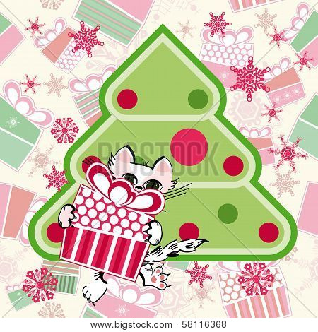 Little Cat With Gift Near The Stylized Christmas Tree