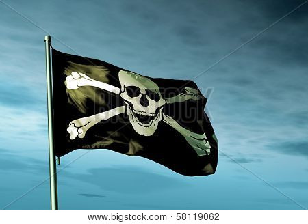 Pirate skull and crossbones flag waving in the evening poster