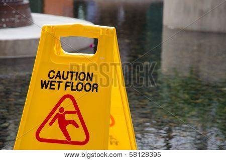 Caution Wet Floor Yellow Signboard