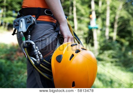 professional climbing gear with helmet pulley and carabiner poster