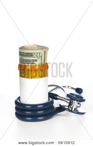 Medicine And Stethoscope With Cash Payment