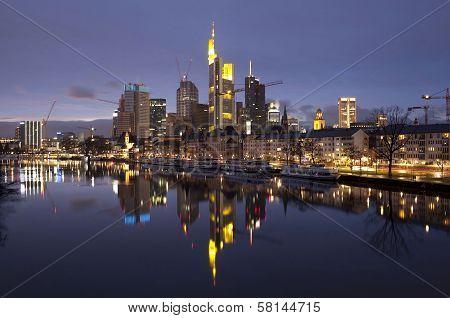 Business District Of Frankfurt-am-Main At Sunset