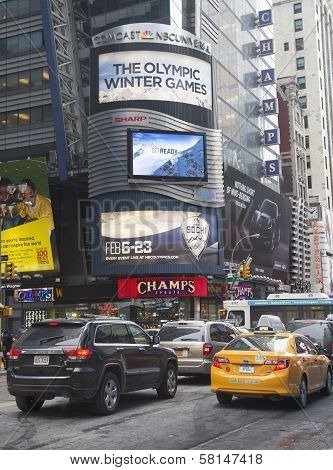 Comcast NBC Universal billboard decorated with Sochi 2014 XXII Winter Games logo