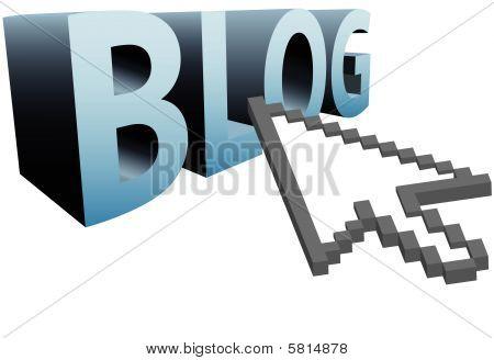 Arrow Pixel Cursor Clicks On 3D Word To Blog Big