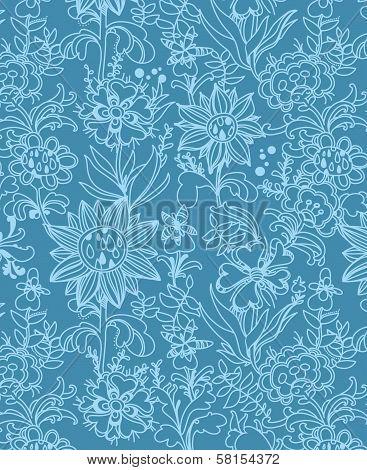 floral  background, vector design. blue flowers