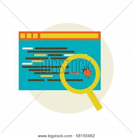 Bug in the programming code. flat Vector illustration eps 10 poster