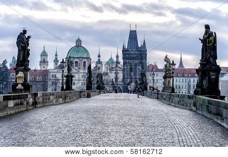 View Of The Charles Bridge In Prague
