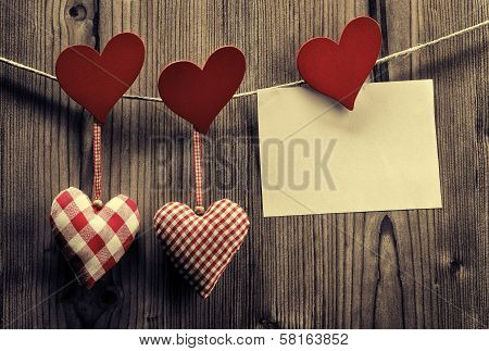 Valentine's Day wallpaper - Textile hearts hanging on the rope message