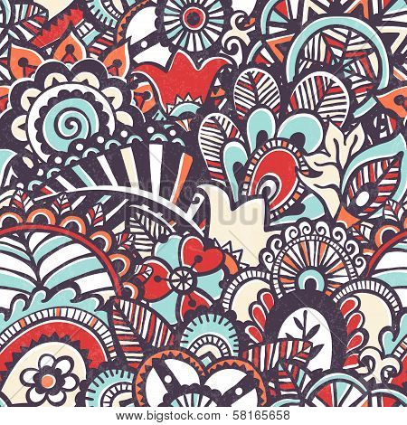 Doodle seamless print. Floral background.