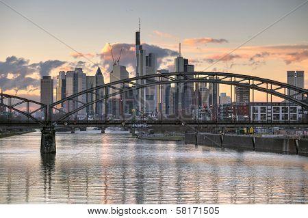 Frankfurt Skyline And Bridge