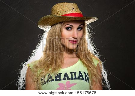 Summery woman in a straw hat