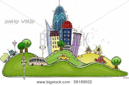 Beautiful city street with park view and traffic, City collection