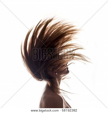 Isolated Woman Portrait Side View