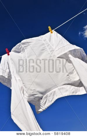 White Shirt On Clothes Line