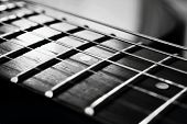 The endless strings of electric guitar in black and white poster