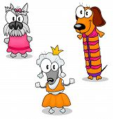 Three funny cartoon dogs in clothes (schnauzer poodle dachshund). poster